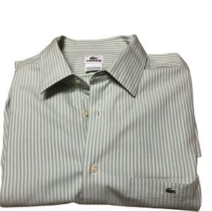 Lacoste Lt. Green Striped Button Up Shirt - 44